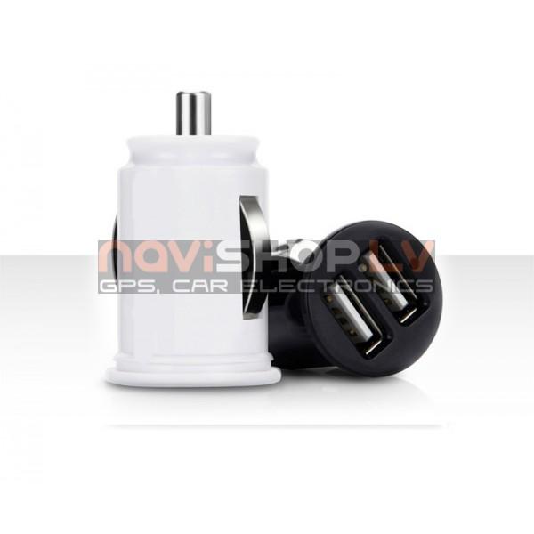 CC002  dubults USB 2.1 A auto lādētājs iPhone, Samsung, HTC ( 12-24V, Hi-End)