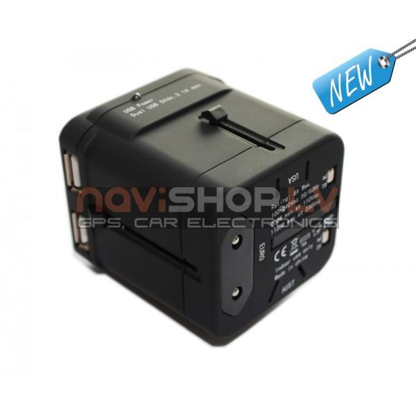 HCET UA002R Pasaules ceļojuma adapteris 2xUSB travel adapter