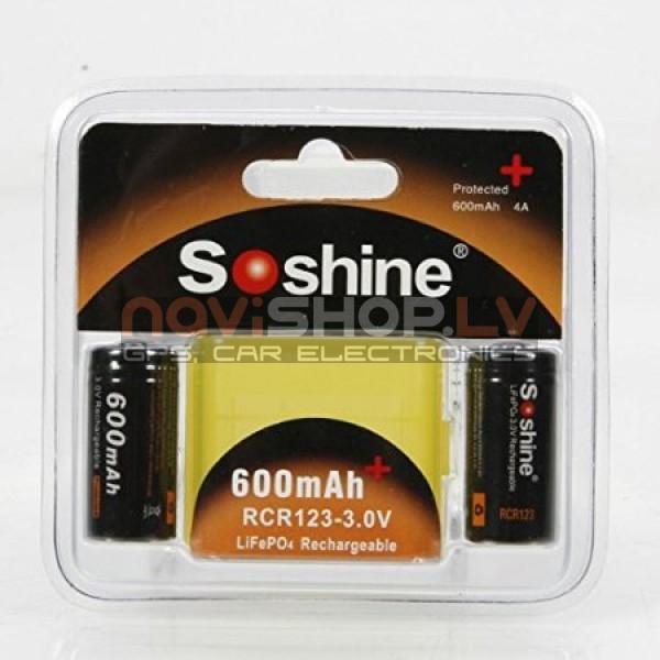 Soshine RCR123P  3.0V 600mah LiFePO4 lādējams akumulators ar aizsardzību  2 gab