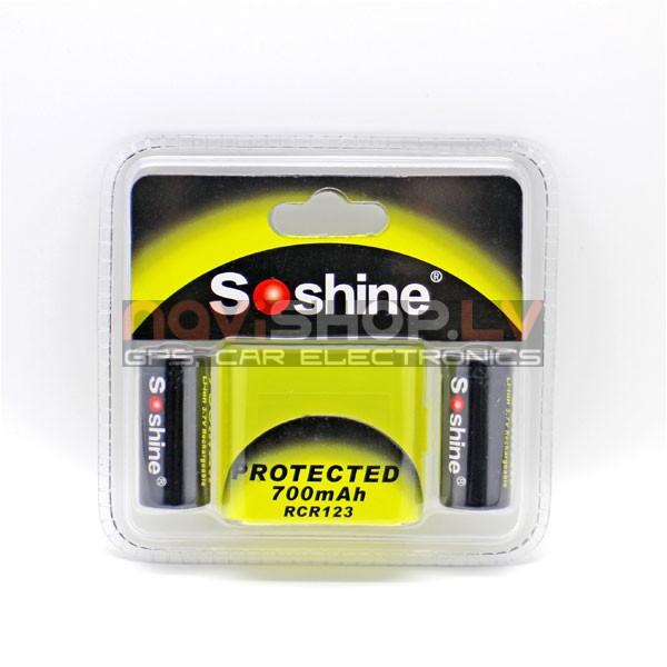 Soshine Li-ion  RCR123A (16340) akumulators 700mAh 3.7V  rlādējams(2 gab)