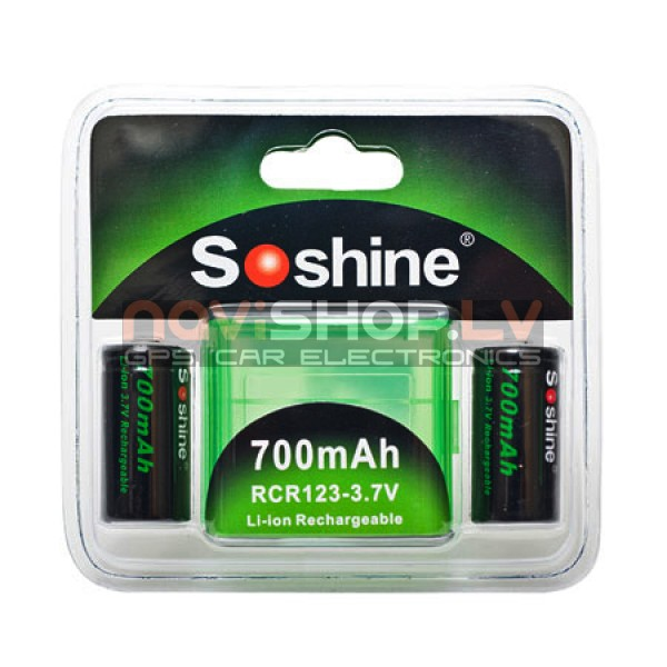 Soshine Li-ion  RCR123 (16340)  akumulators 700mAh 3.7V  rlādējams (2 gab)