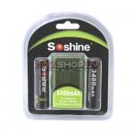 Soshine Li-ion 18650  3400mAh 3.7V akumulators ar aizsardzību (2 gab)