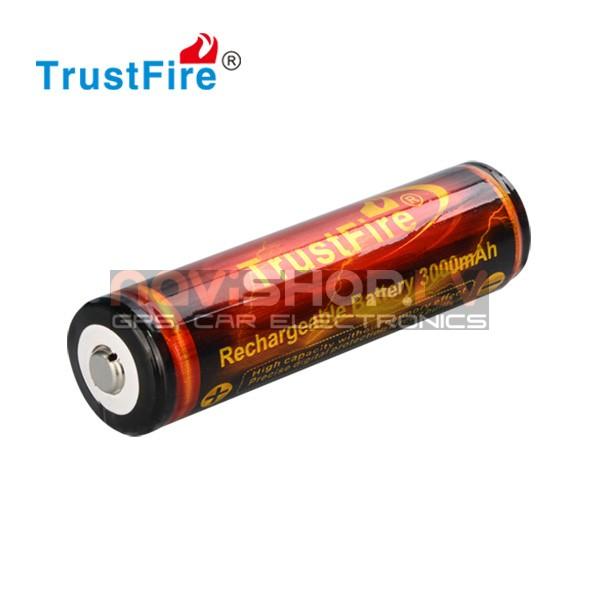 Trustfire 18650 lādējams akumulators ar PCB, 3000 mah, 3.7V