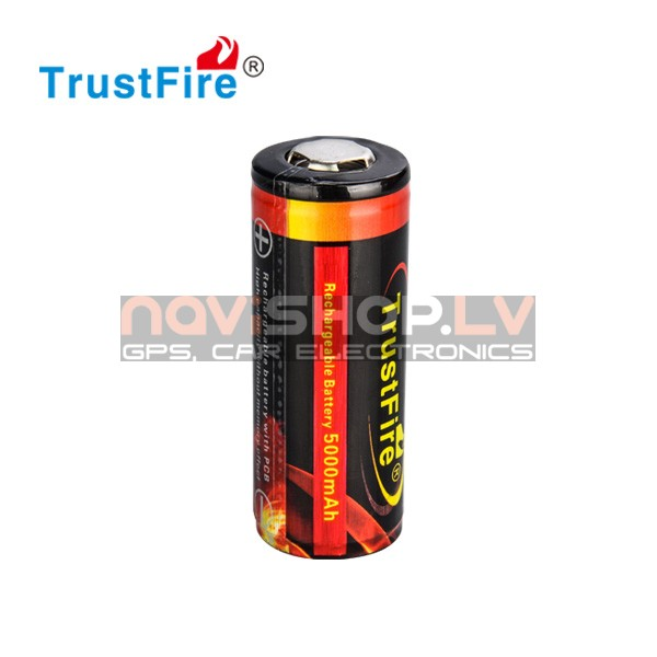 Trustfire 26650 lādējams akumulators ar PCB, 5000 mah, 3.7V