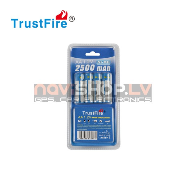 Trustfire AA 2500mah ni-mh lādējams akumulators (4-pack)