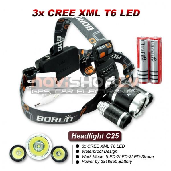 Ultrafire C25 3x LED galvas lukturis komplekts (3x CREE XM-L T6 LED, max 3000 lumens)
