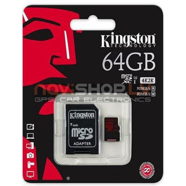 KINGSTON 64GB microSDXC UHS-I speed class 3 U3 90R/80W